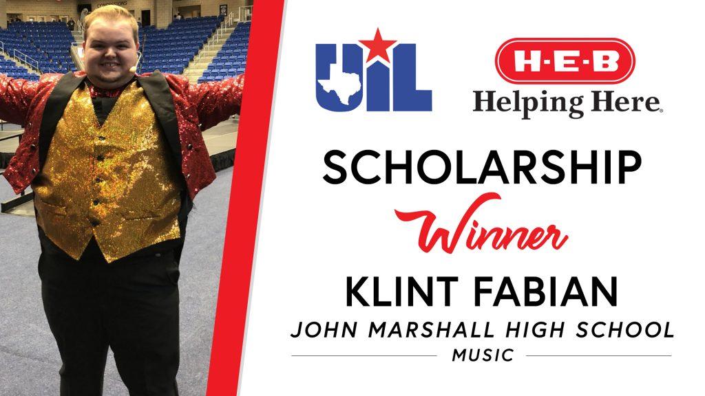 UIL Scholarship recipient Klint Fabian of John Marshall High School.