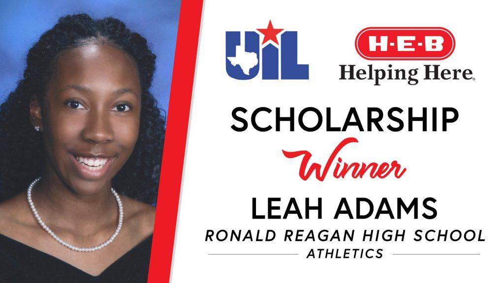 UIL Scholarship recipient Leah Adams of Ronald Reagan High School.